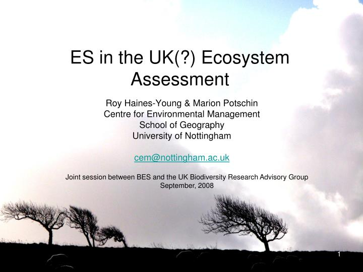 es in the uk ecosystem a ssessment