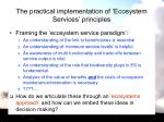 the practical implementation of ecosystem services principles