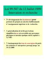 loi 99 587 du 12 juillet 1999 innovation et recherche1