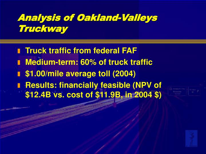 Truck traffic from federal FAF