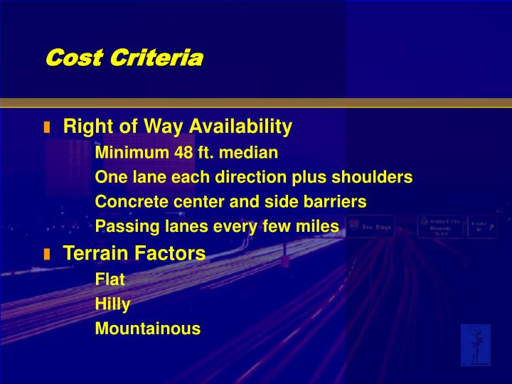 Right of Way Availability