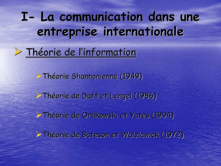 I la communication dans une entreprise internationale