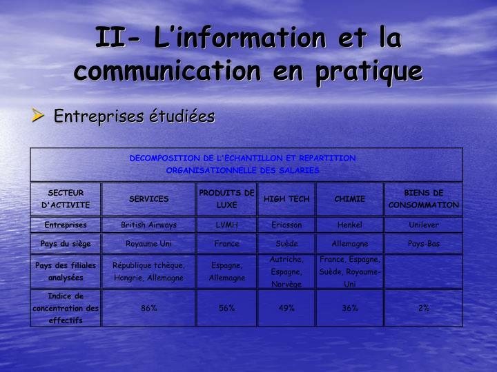 II- L'information et la communication en pratique
