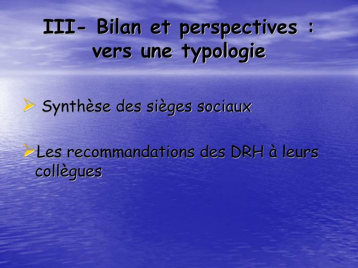 III- Bilan et perspectives : vers une typologie