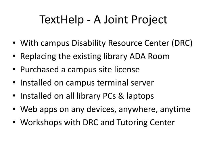 Texthelp a joint project