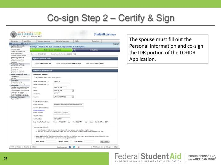 Co-sign Step 2 – Certify & Sign