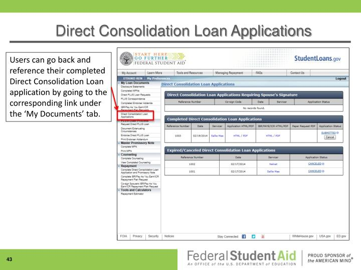 Direct Consolidation Loan Applications