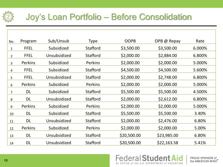 Joy's Loan Portfolio – Before Consolidation