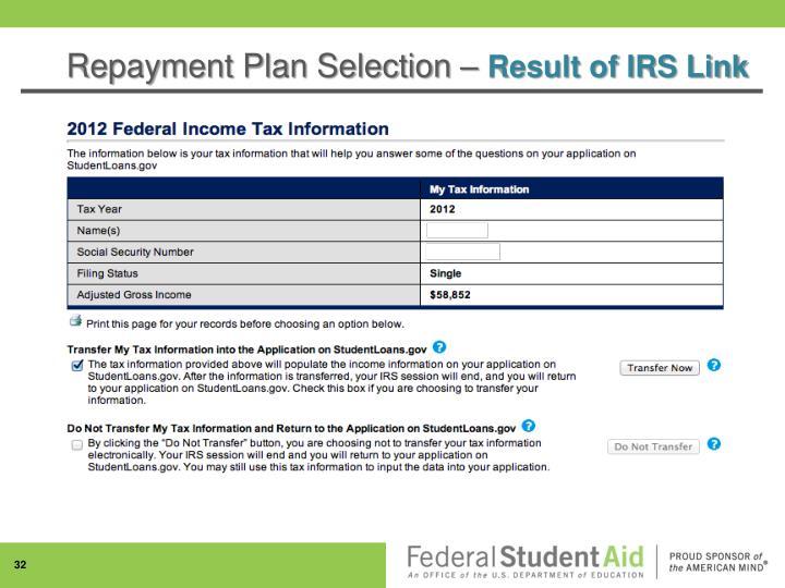 Repayment Plan Selection –