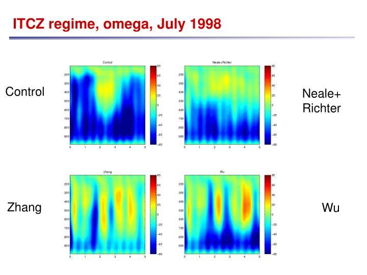 ITCZ regime, omega, July 1998