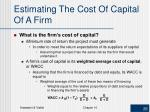 estimating the cost of capital of a firm