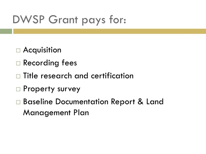 DWSP Grant pays for: