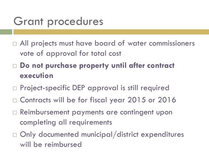 Grant procedures