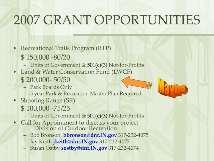 2007 grant opportunities