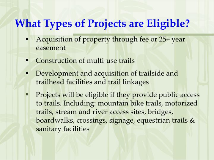 What Types of Projects are Eligible?