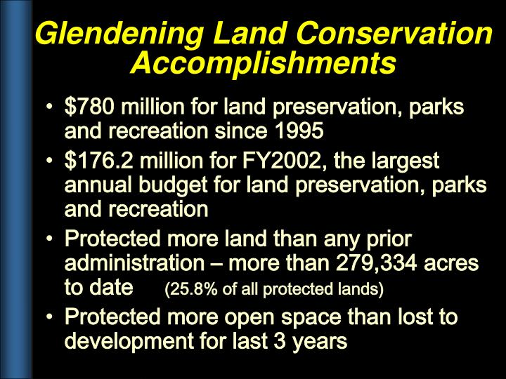 $780 million for land preservation, parks and recreation since 1995