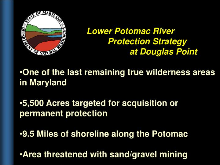 Lower Potomac River                                                    Protection Strategy