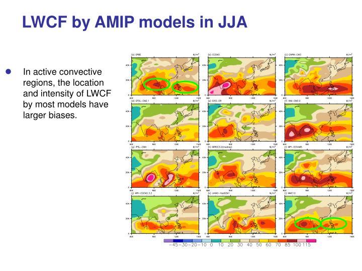 LWCF by AMIP models in JJA