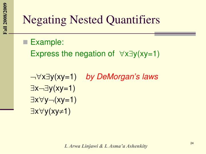 Negating Nested Quantifiers
