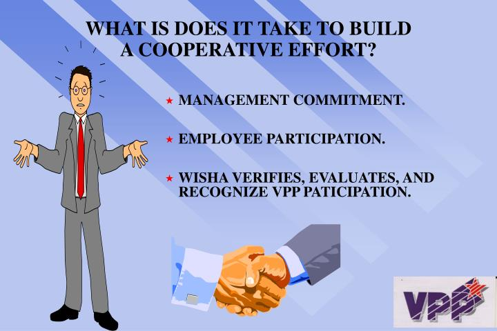 WHAT IS DOES IT TAKE TO BUILD A COOPERATIVE EFFORT?