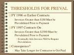 thresholds for preval