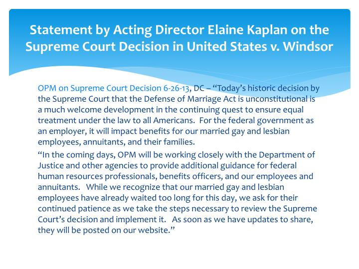 Statement by acting director elaine kaplan on the supreme court decision in united states v windsor
