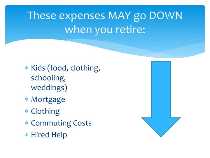 These expenses MAY go DOWN when you retire