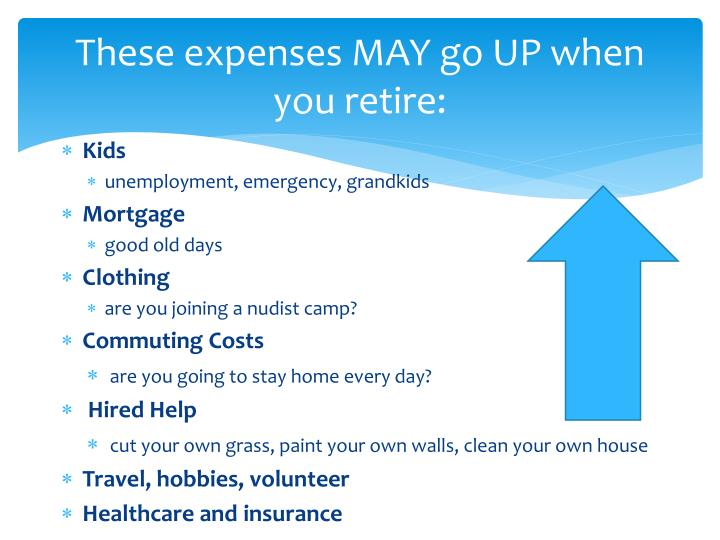 These expenses MAY go UP when you retire