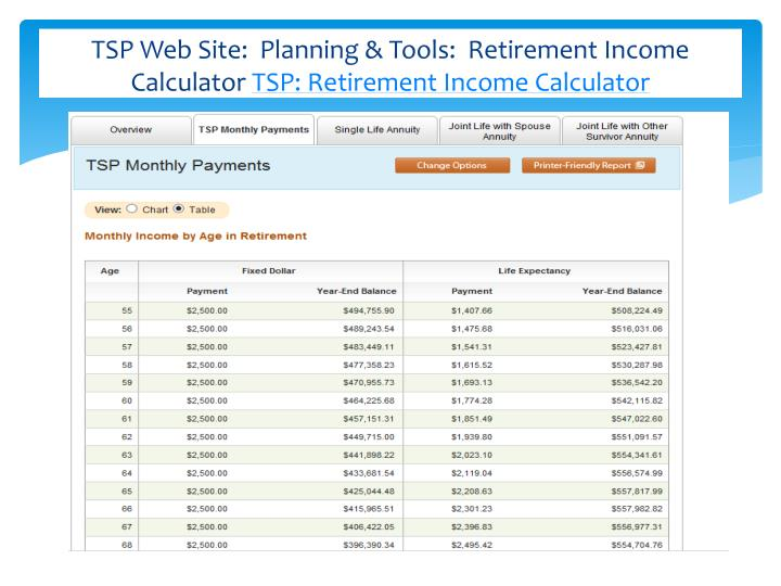 TSP Web Site:  Planning & Tools:  Retirement Income Calculator