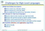 challenges for high level languages