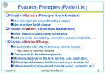 evolution principles partial list