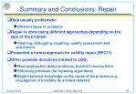 summary and conclusions repair