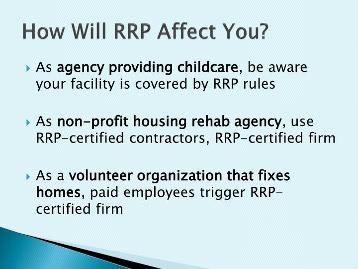 How Will RRP Affect You?