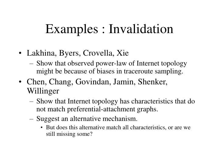 Examples : Invalidation