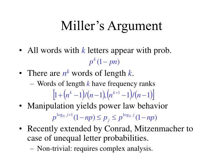 Miller's Argument