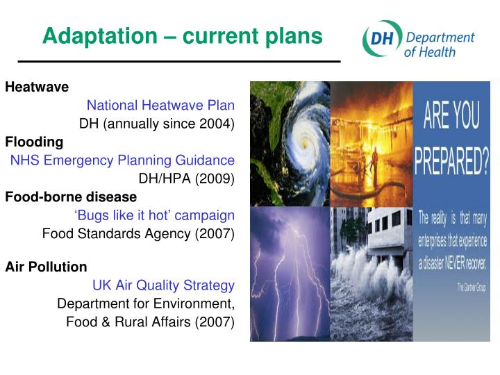 Adaptation – current plans
