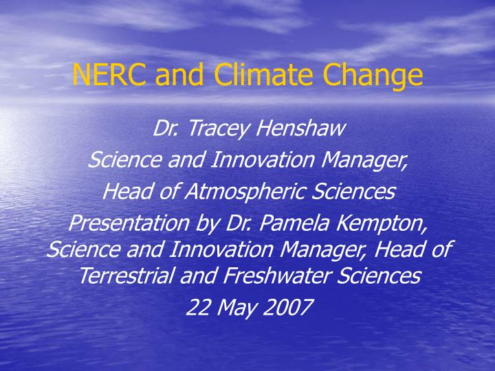 nerc and climate change n.