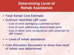 determining level of rehab assistance1
