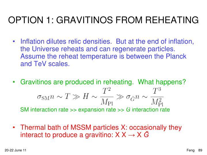 OPTION 1: GRAVITINOS FROM Reheating