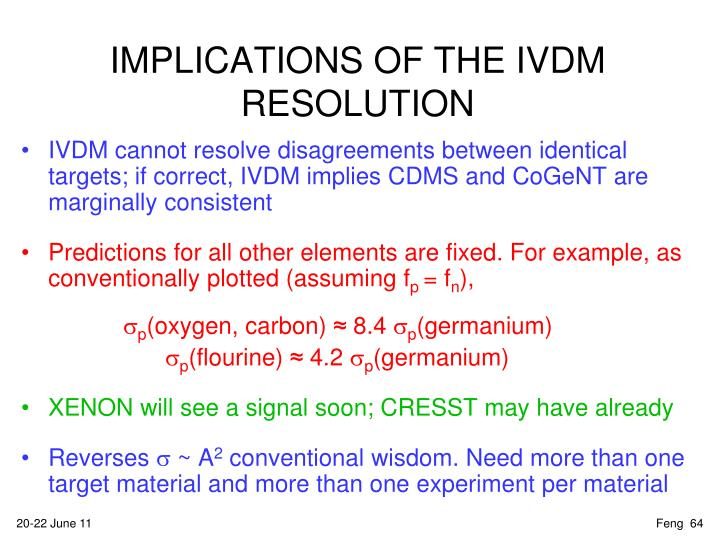 IMPLICATIONS OF THE IVDM RESOLUTION