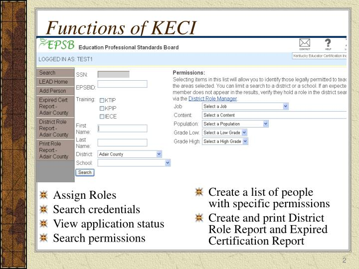 Functions of keci