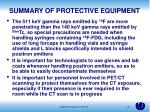 summary of protective equipment