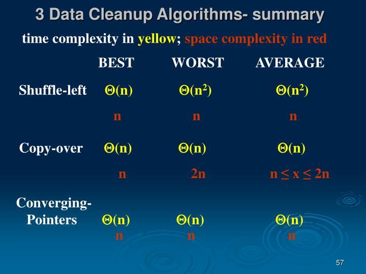 3 Data Cleanup Algorithms- summary