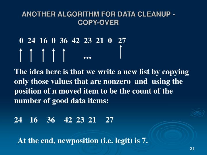 ANOTHER ALGORITHM FOR DATA CLEANUP - COPY-OVER