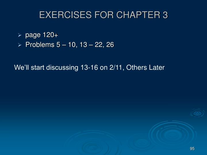 EXERCISES FOR CHAPTER 3