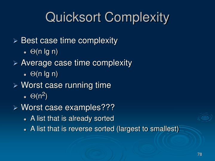 Quicksort Complexity
