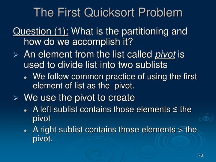 The First Quicksort Problem