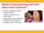 what is lead poisoning and how does it hurt children