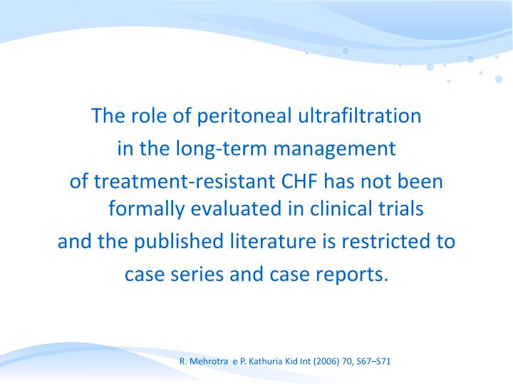 The role of peritoneal ultrafiltration