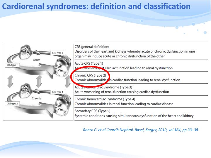 Cardiorenal syndromes: definition and classification